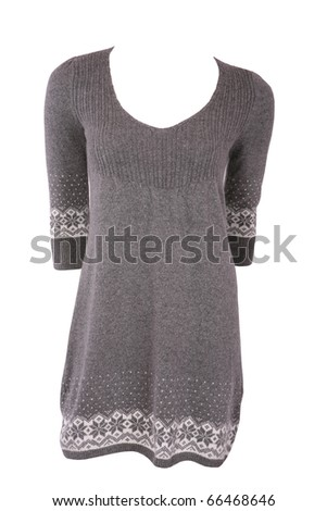 Winter female tunic with snowflakes isolated on white