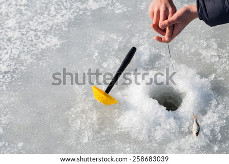 Winter fishing. Ice fishing. Fisherman on ice fishing from the well, a special winter fishing rod. Fishing in winter. Active, cold, fish, winter fishing tackle. Sport winter fishing.