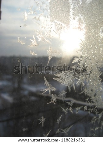Winter, frozen window #1188216331