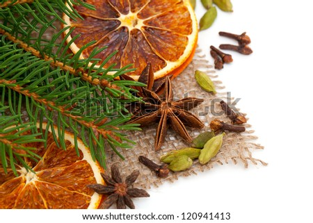 winter fruit and spices and empty space for your text