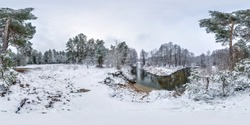 Winter full spherical seamless hdri panorama 360 degrees angle view on road in a snowy park near small river in equirectangular projection. VR AR content