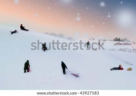 Winter fun leisure with sleds
