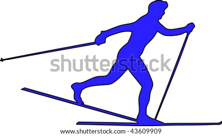 winter game button cross country - stock photo