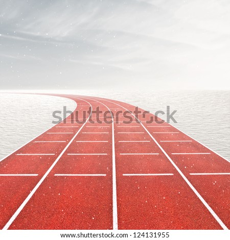 Winter games template with running track in snow landscape
