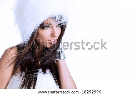 Winter Girl with beautiful make up, silver gloves , white  background