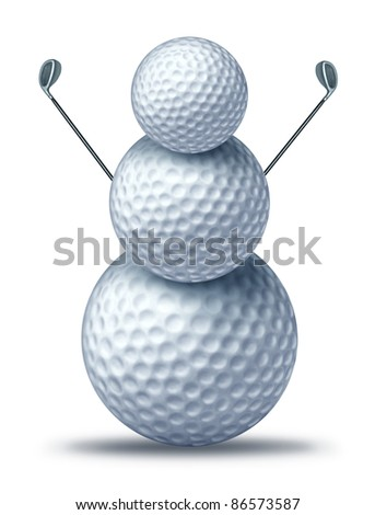 Winter golf symbol represented by golf balls placed to look like a snow man or snowman holding driver golf clubs showing winter holiday activities for seasonal sports leisure vacation at a resort.