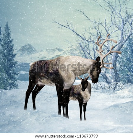 Winter Greeting Card Front With Reindeer And Fawn