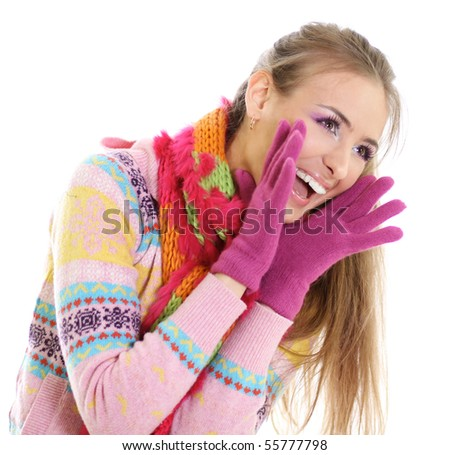 winter happy young woman
