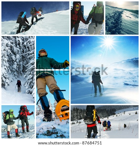 winter hike collage