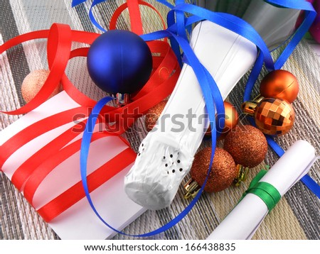 winter holiday concept: champagne and balls as a New Year decoration