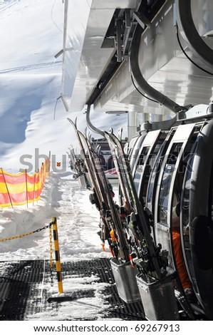 Winter Holiday Gondola Ski Lift in Austrian Alps. Solden.