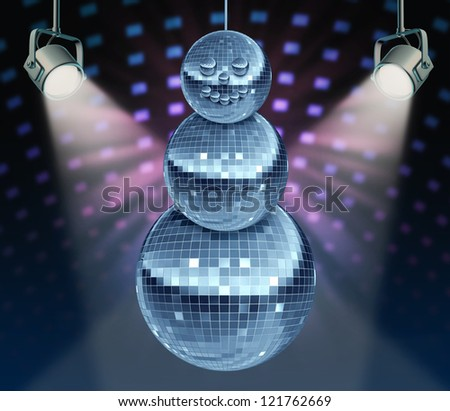 Winter holiday music symbol with Dance night disco balls as a mirror sphere in the shape of a snowman for festive fun and new year celebrations dancing party in a nightclub or dance club with lights.
