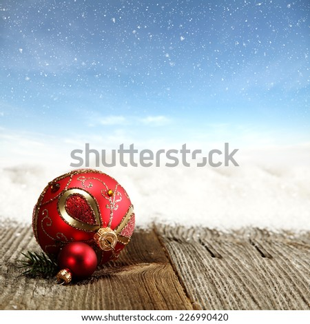 winter holiday sky of blue and red ball