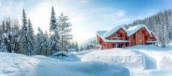 Winter house in mountain snow panoramic landscape at Christmas