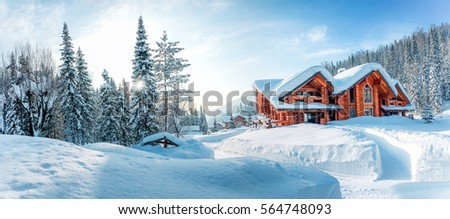 Winter house on winter snowy panoramic landscape #564748093