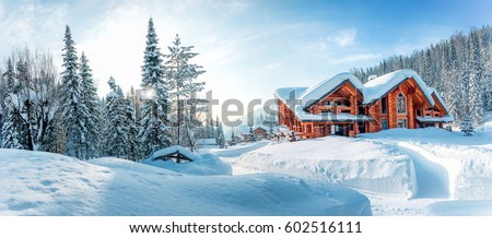 Winter house on winter snowy panoramic landscape #602516111