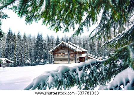 Winter house through snowy fir tree branches #537781033