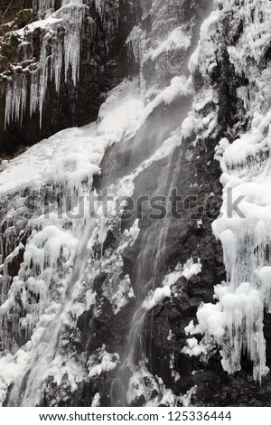 Winter icicle waterfall