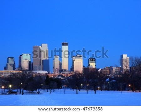 Winter in downtown Minneapolis at dusk