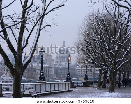 Winter in London with St Pauls Cathedral in the background