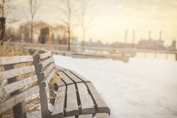 Winter in New York City. Empty benches.
