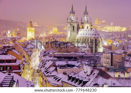 Winter in Prague - city panorama with Tyn Cathedral and Clock Tower. Prague, Bohemia, Czech Republic. Stock photo ©