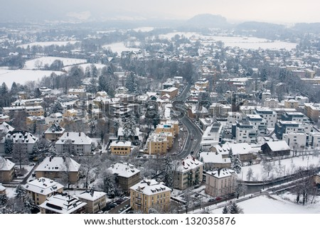 winter in Salzburg, view from top of old castle on city