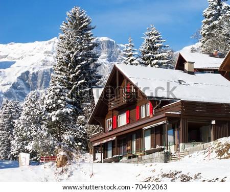 Winter in swiss alps (Braunwald, Glarus, Switzerland)