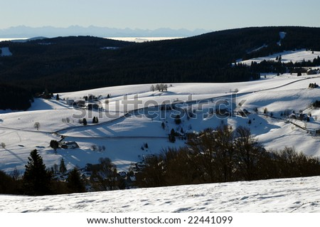 winter in the Black Forest with Alps in the back, Germany