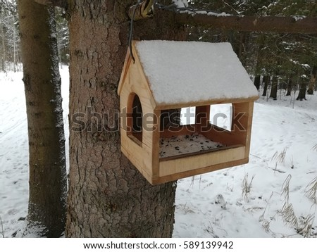 winter in the forest on a tree weighs a birdhouse for the birds  #589139942