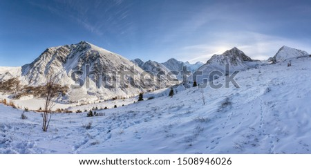 Winter in the mountains in Altai, Altai mountains, rest in the mountains in winter, Lake Akkem, Belukha Mountain #1508946026