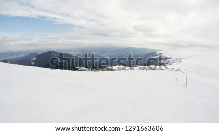 Winter in the mountains. Snowy slopes. Ski slopes Svidovets spine. Dragobrat Ukraine #1291663606