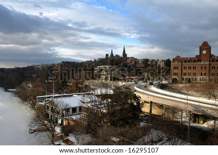 Winter in Washington DC, Georgetown University from Key bridge.