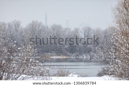 Winter is cloudy weather. The right bank of the Dnipro River. Mother Motherland Monument. Domes of the Kyiv-Pechersk Lavra on the slopes of the Dnipro. Ukraine Feb. 6, 2019 #1306839784