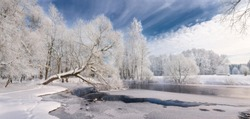 Winter Lace:Realistic Panoramic Christmas Landscape In White Tones With Icy River, Surrounded By Whitetail Trees And Deep Blue Sky.Winter Landscape With Frosty Forest, Beautiful Frozen River And Glade