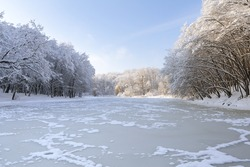 Winter lake in the forest. Morning.