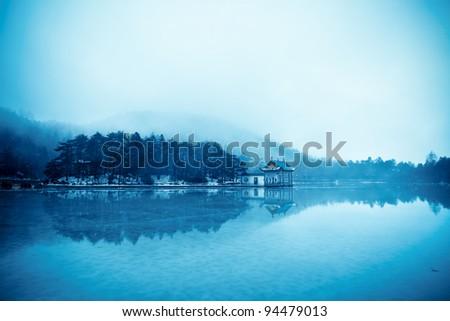winter lake landscape,rainwater and frozen lake
