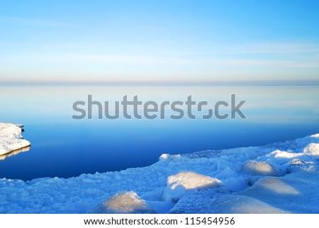 winter landscape at the frozen sea