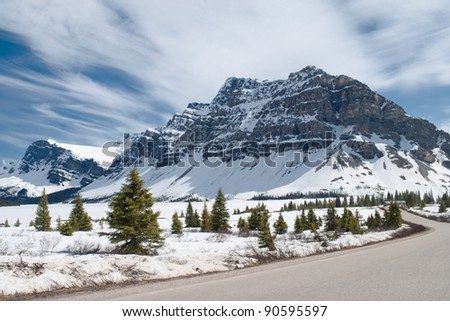 Winter landscape. Canadian Rocky Mountains, fir trees, and frozen Bow Lake covered by snow. Banff National Park, Alberta, Canada.