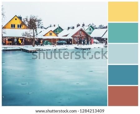 Winter landscape color palette. Harmonious colour combinations. #1284213409