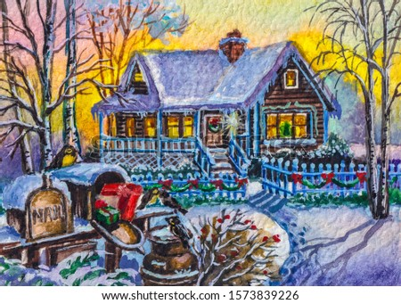 Winter landscape, country house. Mail box with presents for Christmas.