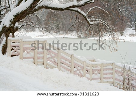 Winter landscape depicting a tree, a fence, a lake and snow