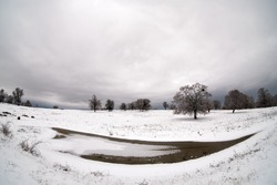 winter landscape fisheye image with snow and trees