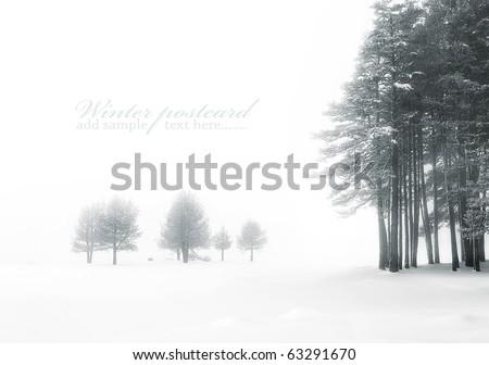 winter landscape for postcard or background