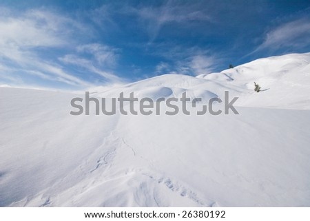 Winter landscape in alps on a beautifull sunny day