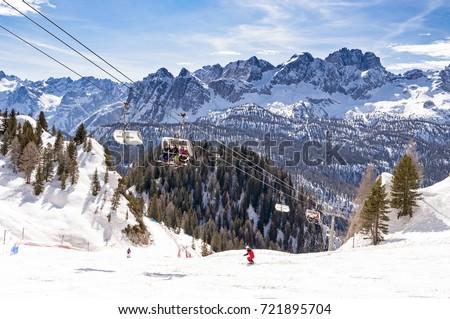 Winter landscape in Dolomites at Cortina D'Ampezzo ski resort, Italy Foto stock ©