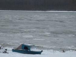 Winter landscape in Hungary, frozen Danube river; ice blocks