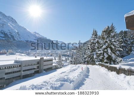 Winter landscape in St. Moritz (German: Sankt Moritz; Italian: San Maurizio), a resort town in the Engadine valley in Switzerland