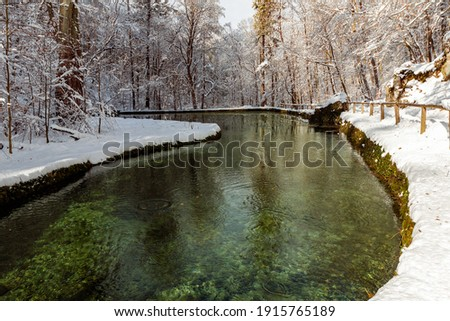 Winter landscape in Szalajka valley Hungary. Amazing landscape in Bukk national park near by Miskolc City. Next to Lillafured town. Beautiful sight the fresh snow in the nature Stock fotó ©