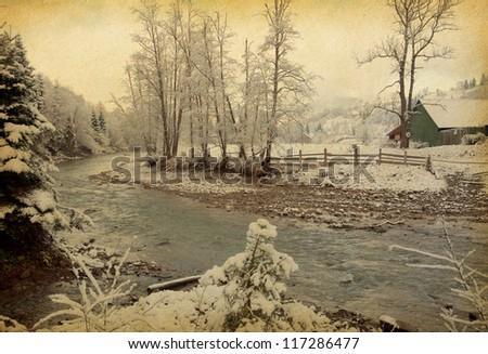 winter landscape in the carpathians mountains. vintage paper .